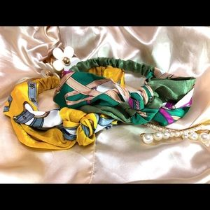 Yellow and Green Twist Knot Elastic Headband Satin